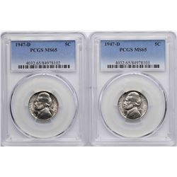 Lot of (2) 1947-D Jefferson Nickel Coins PCGS MS65