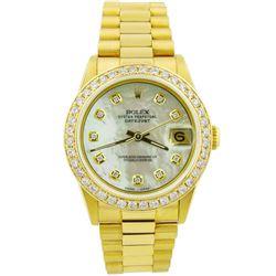 Rolex Ladies Datejust President 18KT Yellow Gold 31mm MOP Diamond Dial Watch