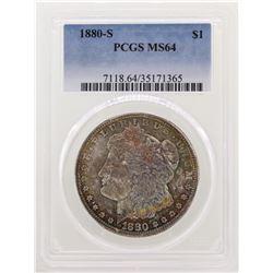 1880-S $1 Morgan Silver Dollar Coin PCGS MS64 Amazing Toning