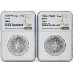 Set of (2) 1992MO Mexico 1 Onza Silver Libertad Coins NGC MS66