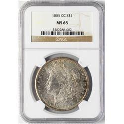 1885-CC $1 Morgan Silver Dollar Coin NGC MS65 Nice Reverse Toning