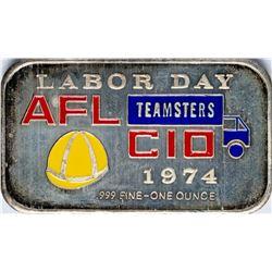 1974 AFL CIO Labor Day Enamel Silver Art Bar