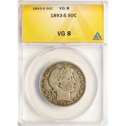 1893-S Barber Half Dollar Coin ANACS VG8