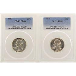 Lot of 1953-1954 Proof Washington Quarter Coins PCGS PR66