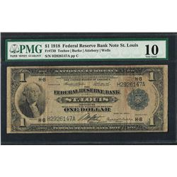 1918 $1 Federal Reserve Bank Note St. Louis Fr.730 PMG Very Good 10