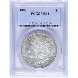 1887 $1 Morgan Silver Dollar Coin PCGS MS64 Nice Toning