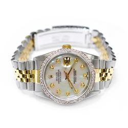 Rolex Unisex Datejust 18KT Yellow Gold & Steel 36mm MOP Diamond Dial Watch
