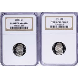 Lot of (2) 2003-S Jefferson Nickel Proof Coins NGC PF69 Ultra Cameo