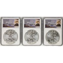 Lot of (3) 2015 $1 American Silver Eagle Coins NGC MS69 First Releases
