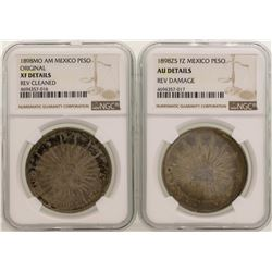 Lot of (2) 1898 Mexico Pesos Silver Coins NGC Graded