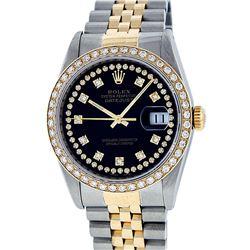 Rolex Men's Two Tone 14K Black String VS Diamond Datejust Wristwatch