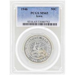 1946 Iowa Centennial Commemorative Half Dollar Coin PCGS MS65