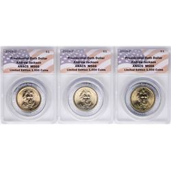 Lot of (3) 2008 Presidential Oath Dollar Coins ANACS MS66