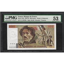 1978-79 Banque de France 100 Francs Currency Note Pick 154a PMG About Uncirculat