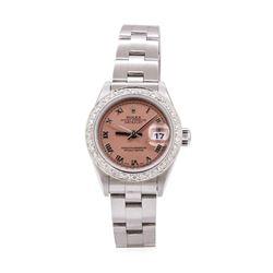 Rolex Ladies Oyster Perpetual Datejust Stainless Steel 0.50 ctw Diamond Wristwat