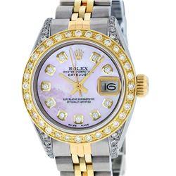 Rolex Ladies Two Tone 14K Pink MOP Diamond Lugs Datejust Wristwatch