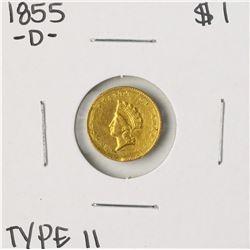 1855-D Type II $1 Indian Princess Head Gold Dollar Coin