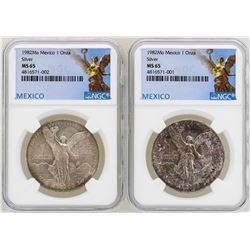 Lot of (2) 1982Mo Mexico Libertad Onza Silver Coins NGC MS65