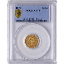 1879 $2 1/2 Liberty Head Quarter Eagle Gold Coin PCGS XF45