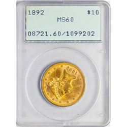 1892 $10 Liberty Head Eagle Gold Coin PCGS MS60 Old Green Rattler