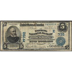 1902 $5 National Bank Wilkes-Barre, PA CH# 732 National Currency Note