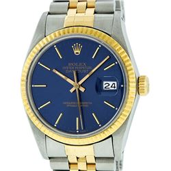 Rolex Mens Two Tone 14K Blue Index 36MM Datejust Wristwatch