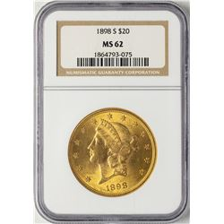 1898-S $20 Liberty Head Double Eagle Gold Coin NGC MS62