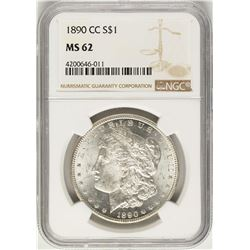 1890-CC $1 Morgan Silver Dollar Coin NGC MS62