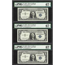 Lot of (3) Consecutive 1957A $1 Silver Certificate Notes PMG Superb Gem Unc. 67E