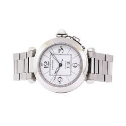 Cartier Mens Pasha Stainless Steel Wristwatch