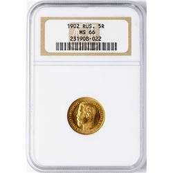 1902 Russia 5 Roubles Gold Coin NGC MS66