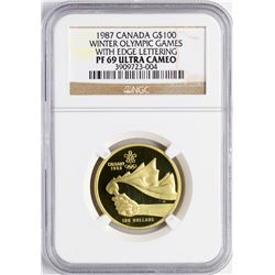 1987 Canada $100 Proof Winter Olympics Commemorative Gold Coin NGC PF69 Ultra Ca