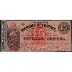 1849 Fifteen Cents The Hydeville Company Obsolete Note