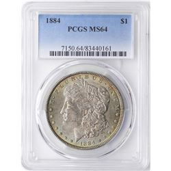 1884 $1 Morgan Silver Dollar Coin PCGS MS64 Amazing Toning