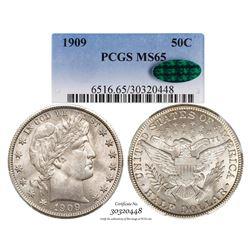 1909 Barber Half Dollar Coin PCGS MS65 CAC Amazing Toning