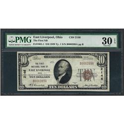 1929 $10 National Currency Note East Liverpool, Ohio CH# 2146 PMG Very Fine 30EP