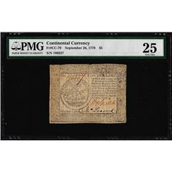 September 26, 1778 $5 Continental Currency Note Fr. CC-79 PMG Very Fine 25