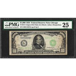 1934 $1,000 Federal Reserve Note Chicago Fr.2211-G Mule PMG Very Fine 25