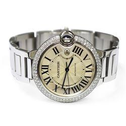 Cartier Mens Ballon Bleu Steel 42mm Silver Roman Dial Custom Diamond Bezel Watch