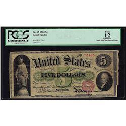 1863 $5 Legal Tender Note Fr.63 PCGS Fine 12 Apparent
