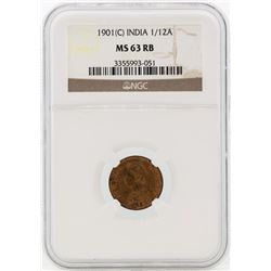 1901 India 1/12 Annas Coin NGC MS63RB