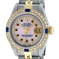 Rolex Ladies Two Tone 14K Pink MOP Diamond Ruby & Sapphire Datejust Wriswatch
