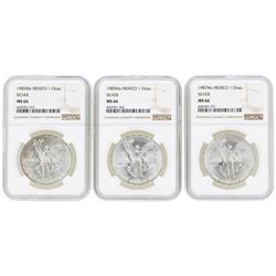 Lot of (3) Mexico 1 Onza Silver Libertad Coins NGC MS66