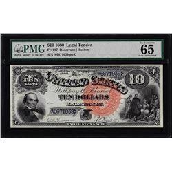 1880 $10 Jackass Legal Tender Note Fr.107 PMG Gem Uncirculated 65 Great Color