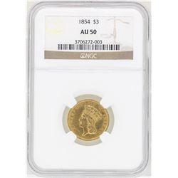 1854 $3 Indian Princess Head Gold Coin NGC AU50