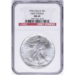 1994 $1 American Silver Eagle Coin NGC MS69 First Strikes