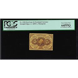 July 17, 1862 First Issue 5 Cent Fractional Currency Note PCGS Very New 64PPQ