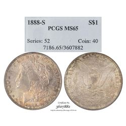 1888-S $1 Morgan Silver Dollar Coin PCGS MS65 AMAZING Toning