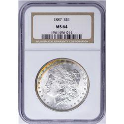 1887 $1 Morgan Silver Dollar Coin NGC MS64 Nice Toning