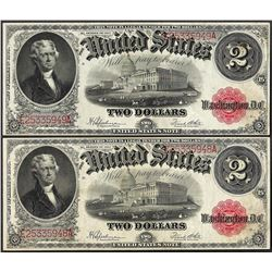 Lot of (2) Consecutive 1917 $2 Legal Tender Notes